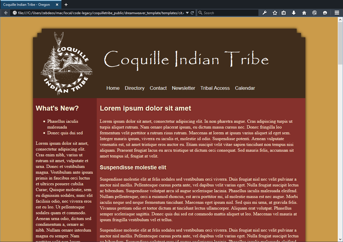 Screenshot of the never-published coquilletribe.org redesigned layout.