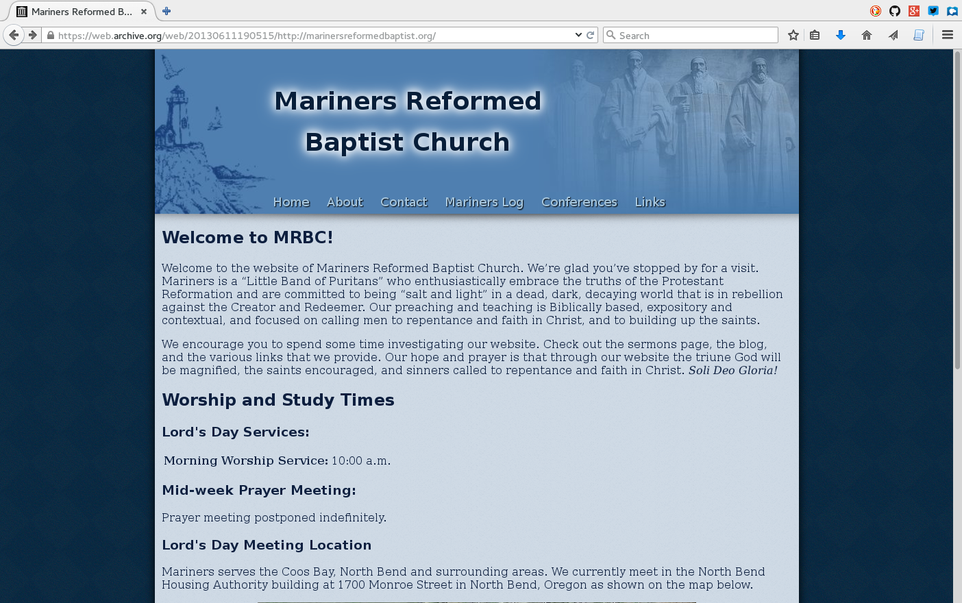Redesigned front page of the Mariners Reformed Baptist Church website.